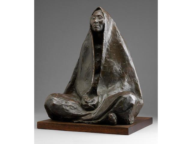 Francisco Zúñiga (Mexican, 1912-1998) Mujer sentada con rebozo - orante, 1972 16 1/8 x 12 13/16 x 10 13/16in (41 x 32.5 x 27.5cm)