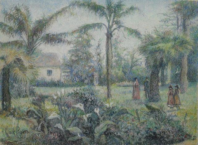 Hughes Claude Pissarro (French, born 1935) Scène dans un jardin 14 15/16 x 20 1/16in (38 x 51cm)