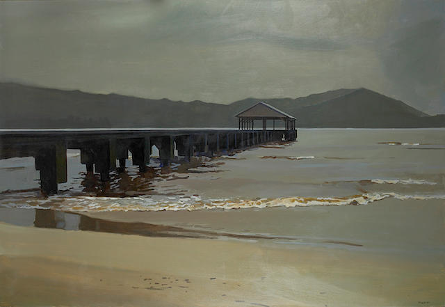 John Register (American, 1936-1996) Hanalei Bay, 1989 49 x 72in (124.5 x 182.9cm)