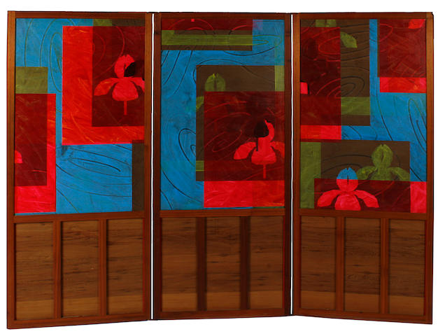 Billy Al Bengston (American, born 1934) Isla Todos Santo Draculas, 1975 (Three Panel Screen) each panel 77 1/2 x 33 1/4in (197 x 84cm)