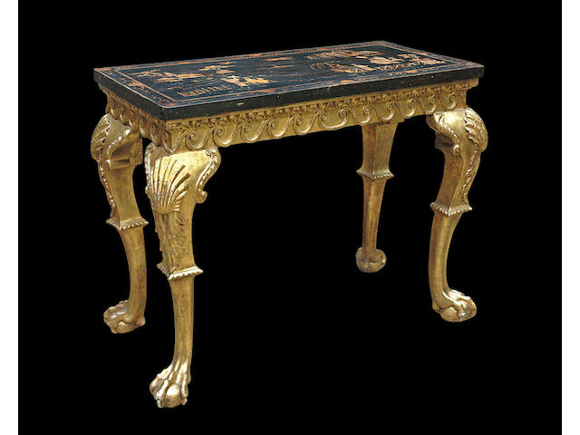 A George II giltwood console table with 19th century chinoiserie decorated top, table second quarter 18th century