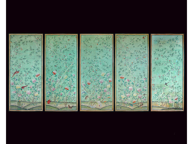 A very fine set of five Chinese export painted wallpaper panels in frames