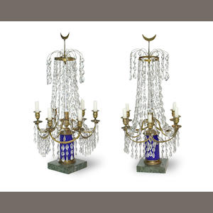 A pair of Swedish Neoclassical style gilt brass, cobalt and clear glass six light candelabra