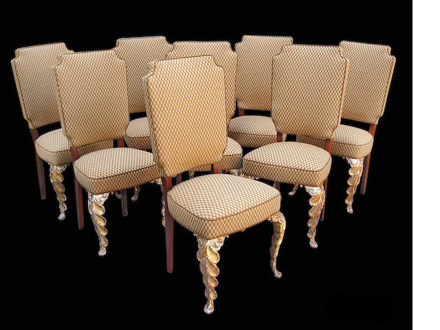 A set of eight French Art Deco upholstered dining chairs <br>circa 1930