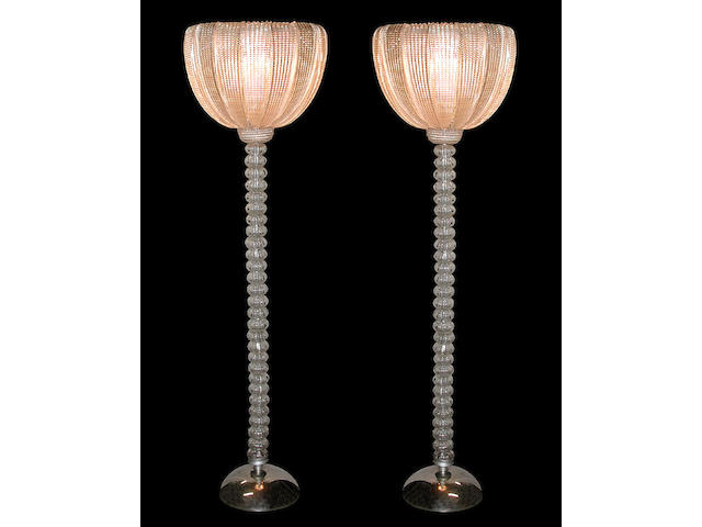 A pair of Barovia & Toso hand blown glass floor lamps