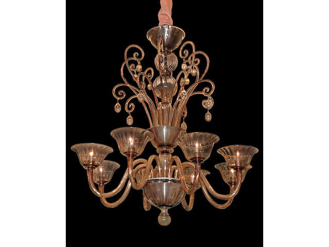 A Murano champagne glass eight light chandelier