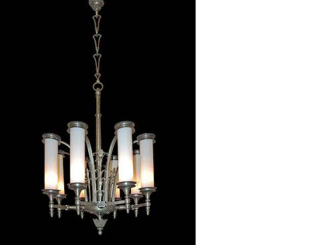 An Italian Art Deco nickeled brass and frosted white glass eight light chandelier <br>circa 1925