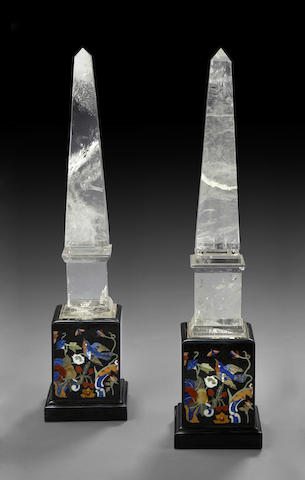 A pair of rock crystal and pietra dura obelisks