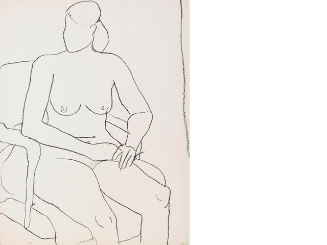 Richard Diebenkorn (American, 1922-1993); Seated Nude;