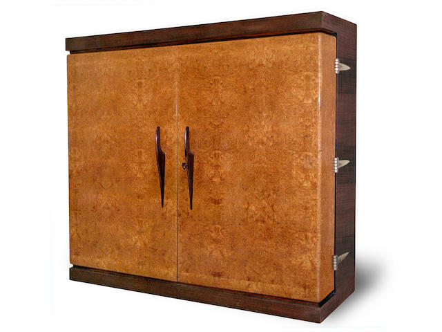 An impressive Luigi Gimbelli burled ash, palisandre and macassar two-door armoire