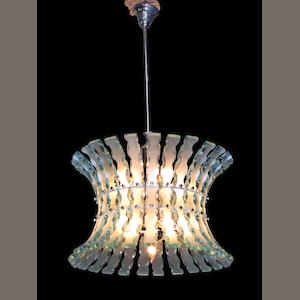 An Italian carved and frosted glass chandelier . circa 1970 . probably by Fontana Arte, Milan