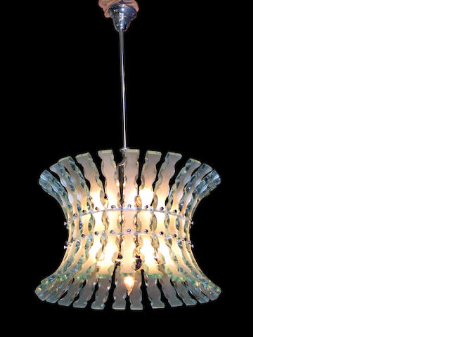 An Italian carved and frosted glass chandelier <br>circa 1970 <br>probably by Fontana Arte, Milan