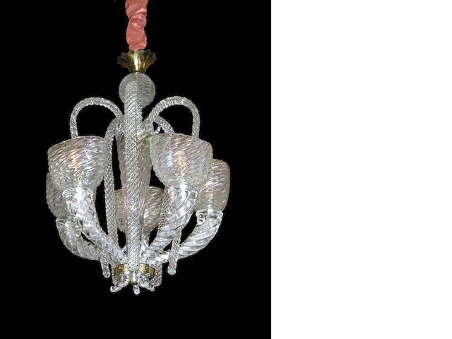 A Murano glass five light chandelier <br>circa 1940