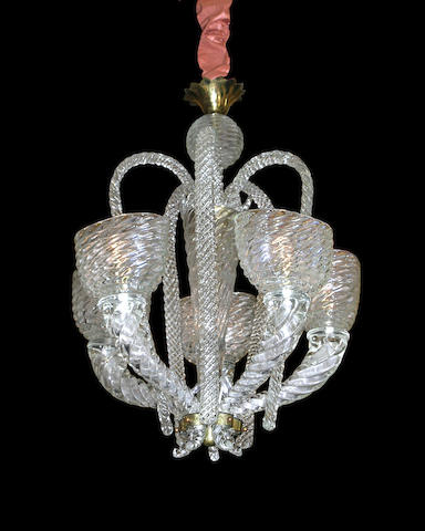 A Murano glass five light chandelier <br>circa 1940