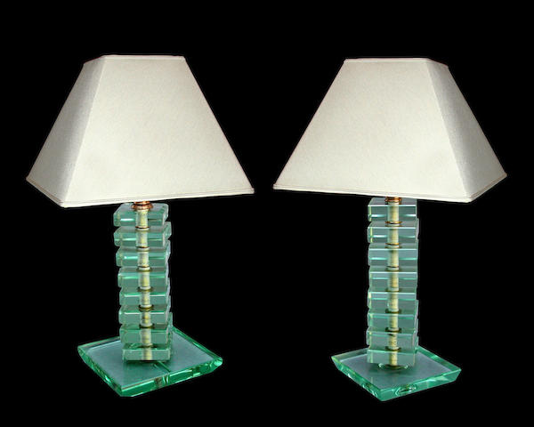 A near pair of Italian green glass table lamps <br>circa 1950 <br>in the manner of Fontana Arte