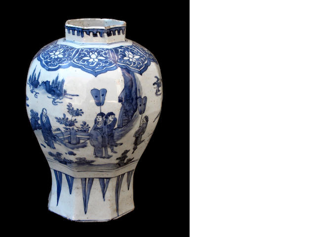 A Chinese blue and white porcelain octagonal section vase Transitional Period