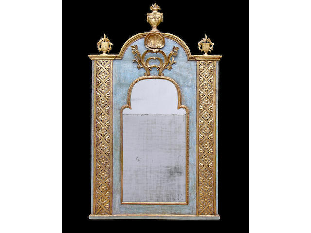 A marvelous and unique Spanish Neoclassical parcel gilt and aqua painted trumeau mirror