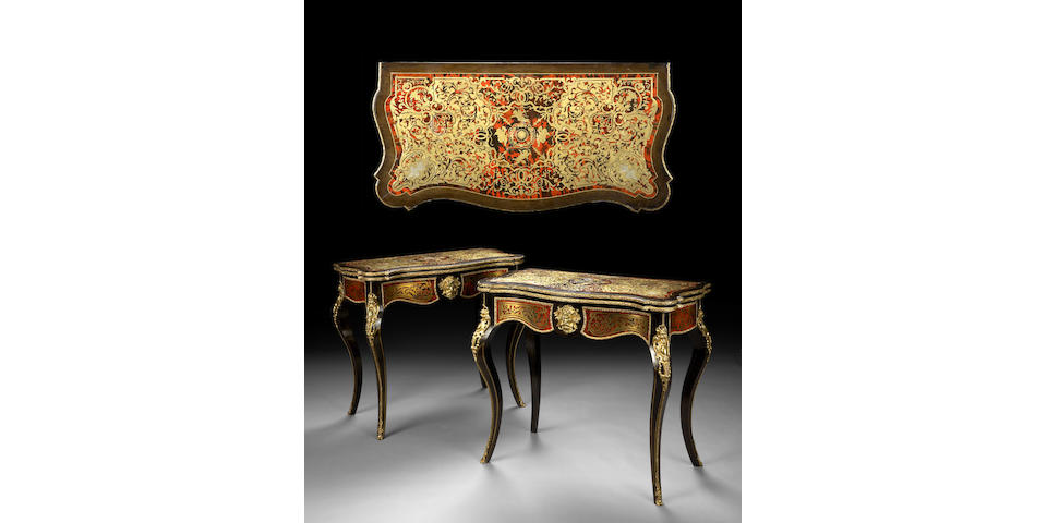 A pair of Napoleon III gilt bronze mounted and Boulle decorated games tables