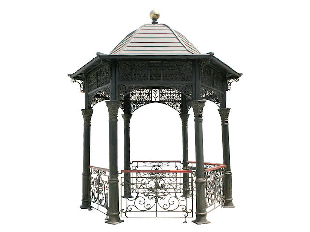 A Neoclassical style wrought iron and tole gazebo