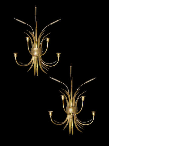 A pair of Italian brass five-light 'Cattail' sconces
