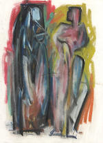 Hans Gustav Burkhardt (American, 1904-1994) Group of Seven Pastel and Charcoal Figural Sketches and