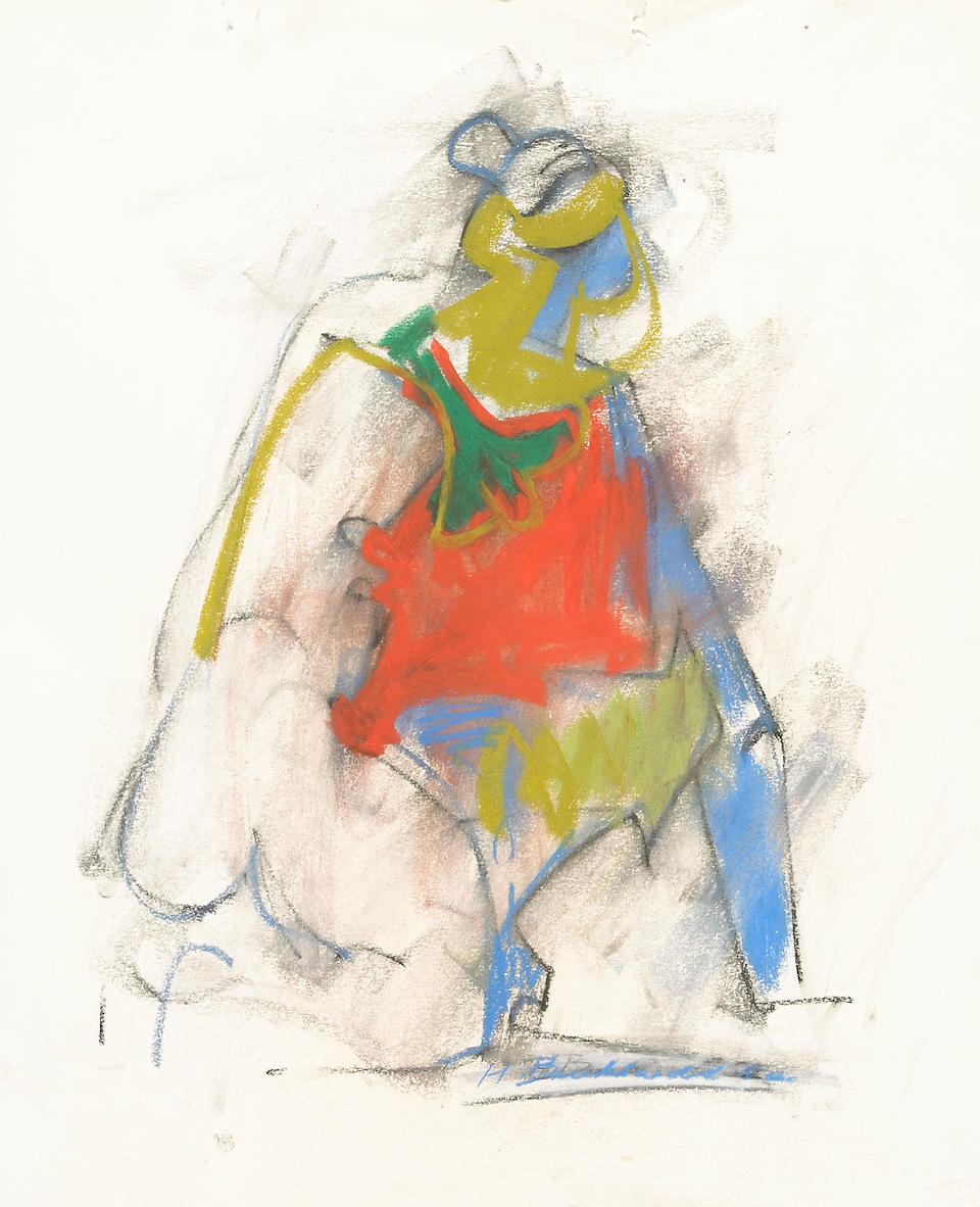 Hans Gustav Burkhardt (American, 1904-1994) Group of Seven Pastel and Charcoal Figural Sketches and Two Watercolors (9) from 24 x 18 1/4in (61 x 43cm) to 30 x 22in (76 x 56cm)