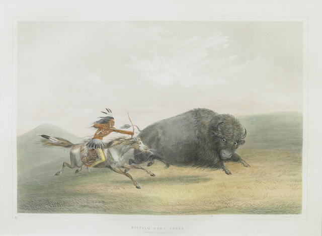 After George Catlin (American, 1794-1872); Buffalo Hunt Chase (Pl. 5);