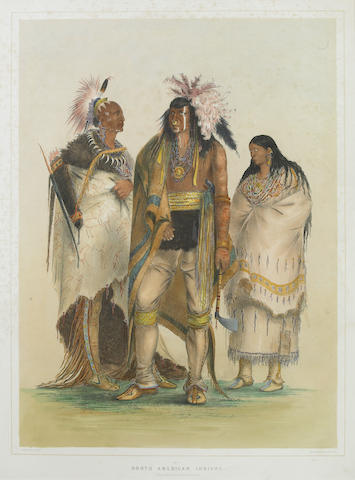 After George Catlin (American, 1794-1872); Group of North American Indians (Pl. 1);
