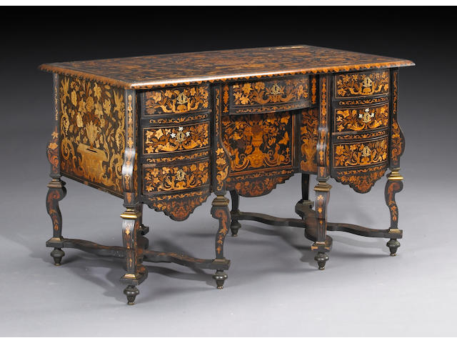 A Louis XIV bronze mounted marquetry, ebony and ebonized bureau mazarin