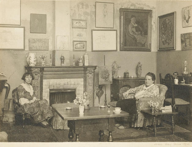 Man Ray (American, 1890-1976); Gertrude Stein and Alice B. Toklas in their rue de Fleurus drawing-room gallery;