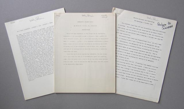 SCHIRRA'S MA-8 POST-MISSION PAPERS.