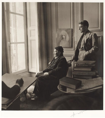 Horst P. Horst (German/American, 1906-1999); Carl Erickson drawing Gertrude Stein and Horst, New York;