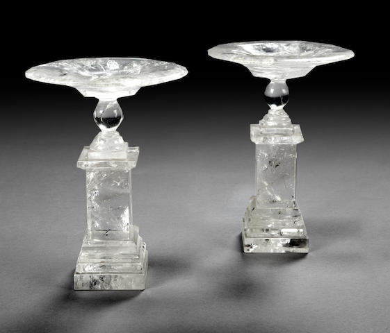 A pair of Neoclassical style rock crystal tazza
