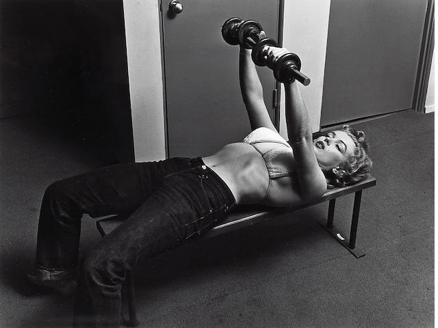 Philippe Halsman (American, 1906-1979); Marilyn with Barbells;