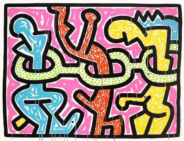 Keith Haring (American, 1958-1990); Flowers II, from Flowers suite;