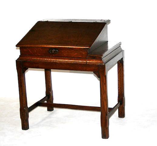 A William and Mary oak slant lid desk on later stand