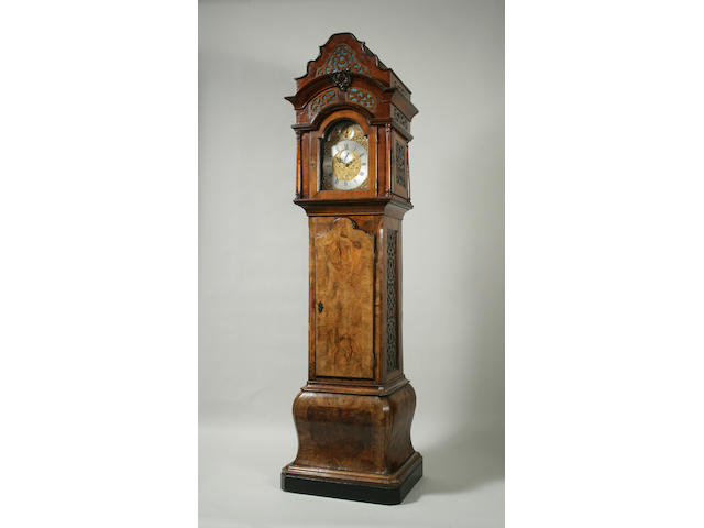 A rare George III walnut longcase organ clock