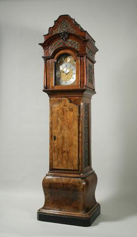 A rare George III walnut longcase organ clock