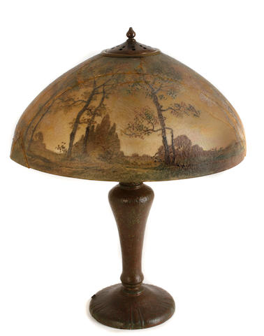 A Handel interior painted glass and patinated-metal lamp