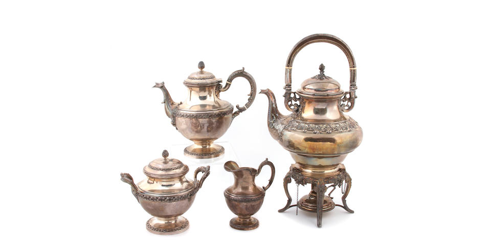 French Silver Four Piece Tea and Coffee Set with Complementary Kettle on Lamp Stand by Boulenger