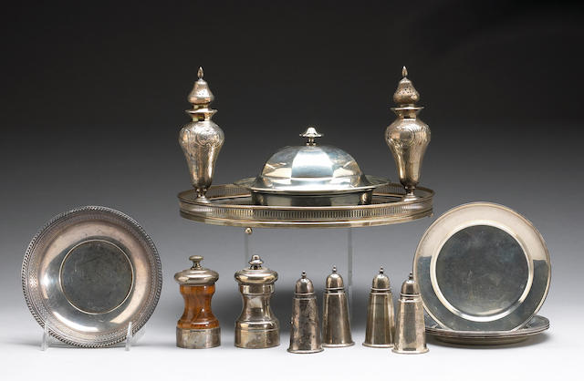 Group of Sterling and Sterling Mounted Table Articles