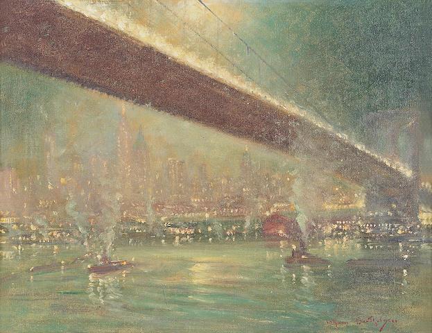 Johann Berthelsen (American, 1883-1972) Beneath the 59th street bridge 12 x 16in