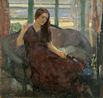 Richard Edward Miller (American, 1875-1943) Young woman seated on sofa; Seated young woman(a double-sided work) 34 x 36in