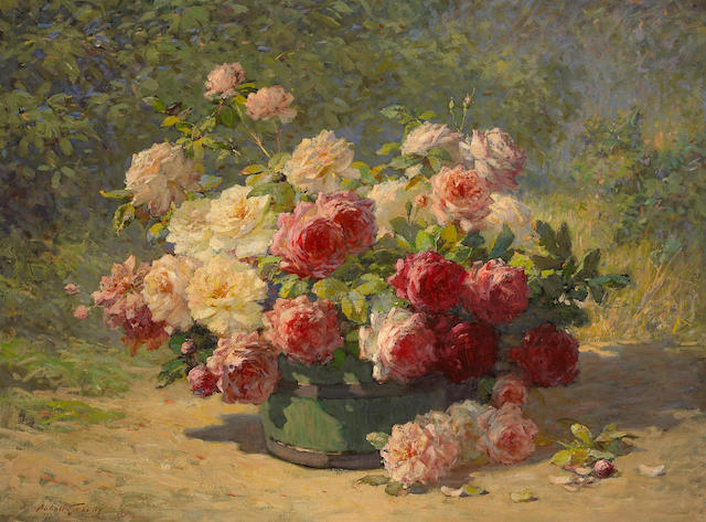 Abbott Fuller Graves (American, 1859-1936) A Mixed Bouquet of Roses in a Green Barrel 30 x 40in