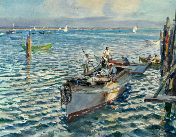 John Whorf (American, 1903-1959) Bringing in a day's catch 22 1/4 x 28 3/4in