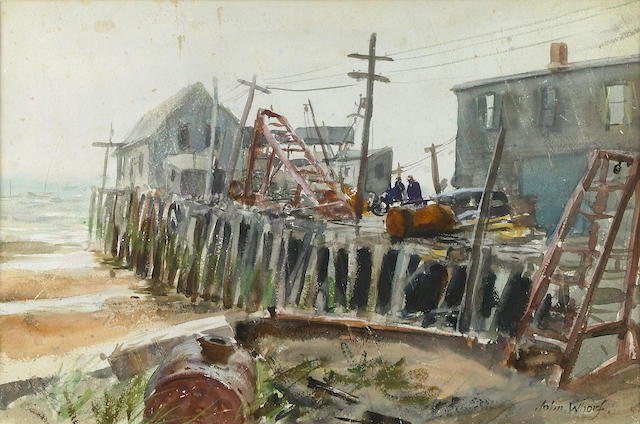 John Whorf (American, 1903-1959) Rainy Day on the Old Wharf 15 x 22in