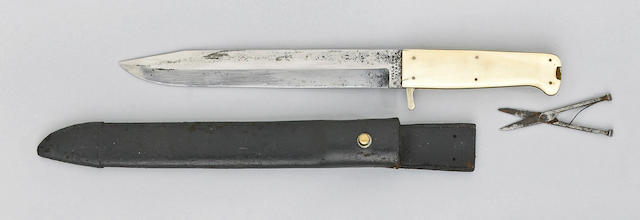 An unusual ivory-mounted English bowie knife by Hill & Son