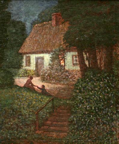 Louis Aston Knight (American, 1873-1948) An evening proposal 28 x 24in