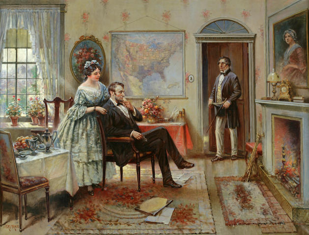 Edward Percy Moran (American, 1862-1935) Abe and Mary Todd Lincoln 30 x 40in