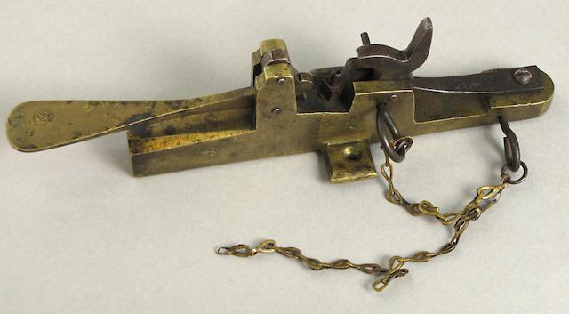 A percussion all-brass door alarm pistol
